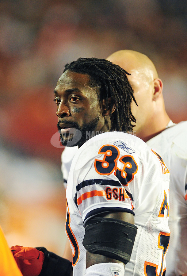 Nov. 18, 2010;  Miami, FL, USA; Chicago Bears cornerback (33) Charles Tillman against the Miami Dolphins at Sun Life Stadium. The Bears defeated the Dolphins 16-0. Mandatory Credit: Mark J. Rebilas-