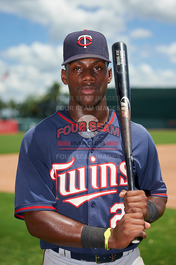 GCL Twins right fielder Akil Baddoo (25) poses for a photo after a game against the GCL Orioles on August 11, 2016 at the Ed Smith Stadium in Sarasota, Florida.  GCL Twins defeated GCL Orioles 4-3.  (Mike Janes/Four Seam Images)