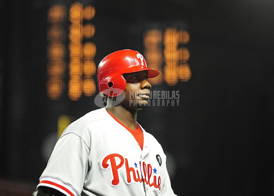 Apr. 25, 2011; Phoenix, AZ, USA; Philadelphia Phillies first baseman Ryan Howard against the Arizona Diamondbacks at Chase Field. Mandatory Credit: Mark J. Rebilas-