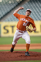 Texas Longhorns pitcher Parker French #24 delivers a pitch to the plate during the NCAA baseball game against the Houston Cougars on March 1, 2014 during the Houston College Classic at Minute Maid Park in Houston, Texas. The Longhorns defeated the Cougars 3-2. (Andrew Woolley/Four Seam Images)