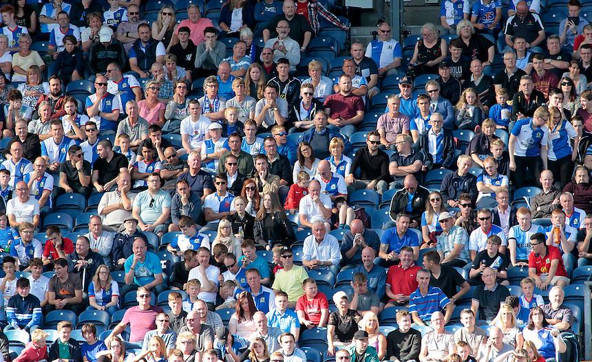 Blackburn Rovers fans during the game<br /> <br /> Photographer David Shipman/CameraSport<br /> <br /> The EFL Sky Bet Championship - Blackburn Rovers v Rotherham United - Saturday 17 September 2016 - Ewood Park - Blackburn<br /> <br /> World Copyright &copy; 2016 CameraSport. All rights reserved. 43 Linden Ave. Countesthorpe. Leicester. England. LE8 5PG - Tel: +44 (0) 116 277 4147 - admin@camerasport.com - www.camerasport.com
