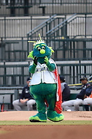 Mason, the mascot of the Columbia Fireflies, in a game against the Charleston RiverDogs on Saturday, April 6, 2019, at Segra Park in Columbia, South Carolina. Columbia won, 3-2. (Tom Priddy/Four Seam Images)