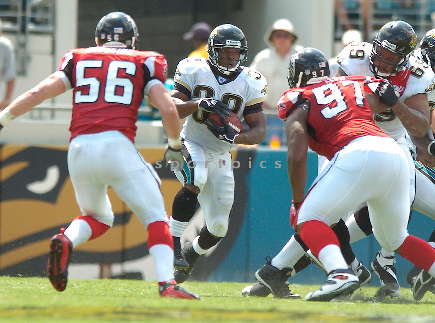 GREG JONES, of the Jacksonville Jaguars, in action during the Jaguars game against the Atlanta Falcons  in Jacksonville, FL on September 16, 2007.  The Jaguars won the game 13-7............