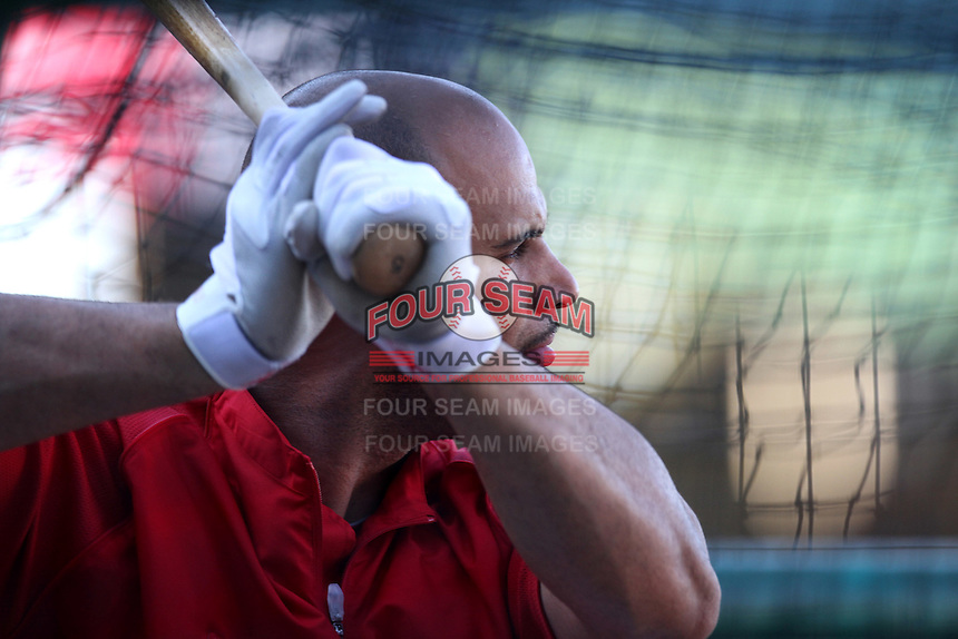 Albert Pujols #5 of the Los Angeles Angels before a game against the Cleveland Indians at Angel Stadium on August 14, 2012 in Anaheim, California. Los Angeles defeated Cleveland 9-6. (Larry Goren/Four Seam Images)
