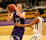 SIOUX FALLS, SD - DECEMBER 31: Drew Guebert #23 from the University of Sioux Falls eyes the basket against John Warren #3 from Augustana University during their game Sunday afternoon December 31, 2017 at the Stewart Center in Sioux Falls, SD.  (Photo by Dave Eggen/Inertia)