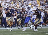 Annapolis, MD - October 7, 2017: Navy Midshipmen quarterback Zach Abey (9) runs the ball during the game between Air Force and Navy at  Navy-Marine Corps Memorial Stadium in Annapolis, MD.   (Photo by Elliott Brown/Media Images International)