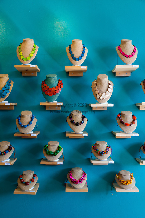 Lady Mosquito, a shop on Queen West,  specializes in hand made Peruvian necklaces that are made from Tagua seeds, which are sustainably harvested in the Amazon rainforest.  Artists paint the seeds with non-toxic dyes.