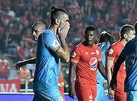CALI - COLOMBIA-24-03-2019: Delio Ojeda del Jaguares reacciona tras perder una opoción de gol durante partido por la fecha 11 de la Liga Águila I 2019 entre América de Cali y Jaguares de Córdoba FC jugado en el estadio Pascual Guerrero de la ciudad de Cali. / Delio Ojeda of Jaguares reacts afeter losing a goal opportunity during match for the date 11 as part of Aguila League I 2019 between America Cali and Jaguares de Cordoba FC played at Pascual Guerrero stadium in Cali. Photo: VizzorImage / Gabriel Aponte / Staff