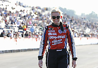 Feb. 14, 2013; Pomona, CA, USA; NHRA funny car driver Courtney Force during qualifying for the Winternationals at Auto Club Raceway at Pomona.. Mandatory Credit: Mark J. Rebilas-