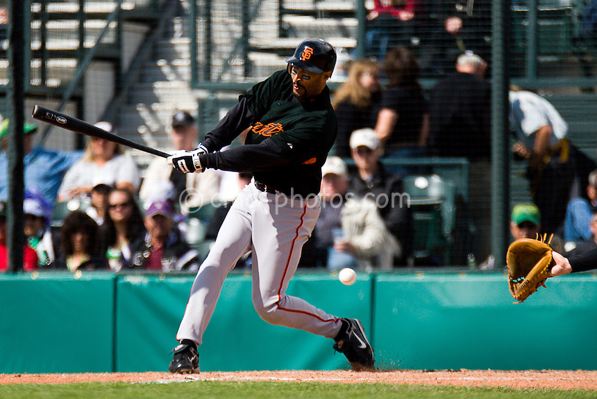 Mar 17, 2008; Tucson, AZ, USA; San Francisco Giants right fielder Randy Winn (2) strikes out swinging in the top of the 6th inning of a game against the Colorado Rockies at Hi Corbett Field.