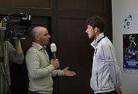 30-01-2014,Czech Republic, Ostrava, Cez Arena, Davis Cup, Czech Republic vs Netherlands, draw, city hall, Robin Haase(NED) is interviewed by NOS television<br /> Photo: Henk Koster