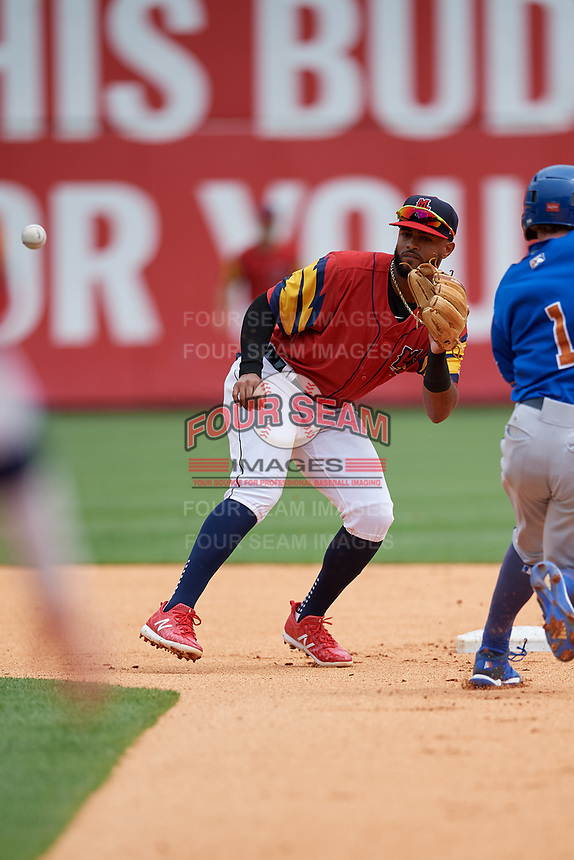 Toledo Mud Hens shortstop Willi Castro (5) waits for a throw as Jake Cronenworth (1) slides in to second base during an International League game against the Durham Bulls on July 16, 2019 at Fifth Third Field in Toledo, Ohio.  Durham defeated Toledo 7-1.  (Mike Janes/Four Seam Images)
