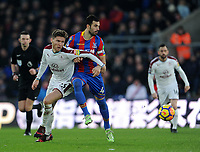 Burnley's Jeff Hendrick vies for possession with Crystal Palace's Luka Milivojevic<br /> <br /> Photographer Ashley Crowden/CameraSport<br /> <br /> The Premier League - Crystal Palace v Burnley - Saturday 13th January 2018 - Selhurst Park - London<br /> <br /> World Copyright &copy; 2018 CameraSport. All rights reserved. 43 Linden Ave. Countesthorpe. Leicester. England. LE8 5PG - Tel: +44 (0) 116 277 4147 - admin@camerasport.com - www.camerasport.com
