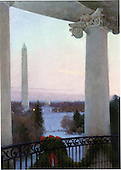 "Washington, DC - December 14, 2008 -- Painting of the ""View From the Truman Balcony: The White House 2008"" by T. Allen Lawson that is on the front of the 2008 holiday greeting card sent out by United States President George W. Bush and first lady Laura Bush.  The original work is a 28 inches by 20 inches (71.12 cm by 50.80 cm) oil on linen painting..Credit: Ron Sachs / CNP"