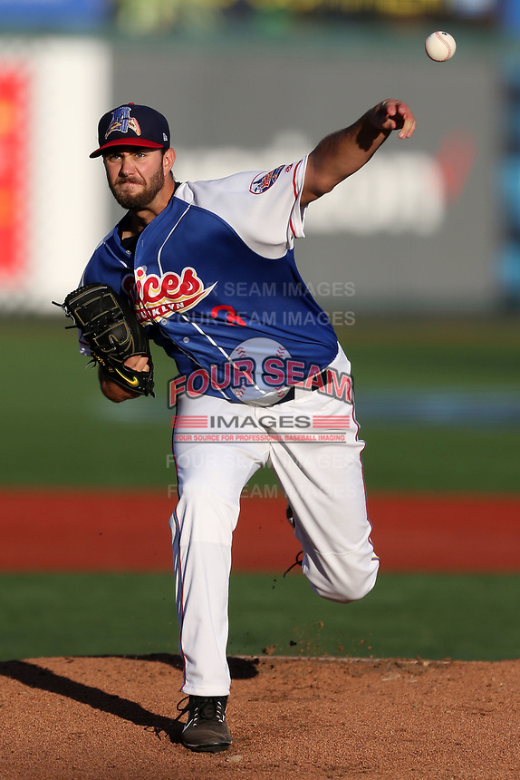 Brooklyn Slices starting pitcher David Peterson (3) in action against the Tri-City ValleyCats at MCU Park on August 4, 2017 in Brooklyn, New York.  The ValleyCats defeated the Slices 4-2.  (Christopher Pasatieri/Four Seam Images)