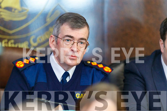 Garda Commissioner Drew Harris at the Joint Policing Committee meeting at County Buildings, Tralee on Friday.