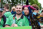 Christy West from Connaught get he's rubbed by a Jester AKA Jonathan Gunning at the Start of the Parade to officially start the Special Olympics in Limerick over the Next 3 Days.<br /> Picture  Credit Brian Gavin Press 22