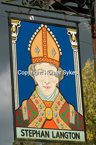 Friday Street. Leith Hill Surrey UK . The Stephan Langton pub sign . He was the Archbishop of Canterbury and a signatory of the Marna Carter.