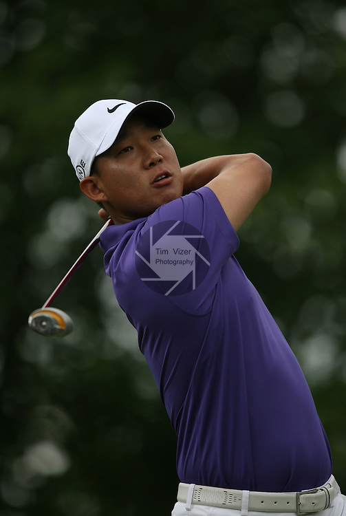7 September 2008:   Anthony Kim watches his ball after teeing off during the fourth and final round of play at the BMW Golf Championship at Bellerive Country Club in Town & Country, Missouri, a suburb of St. Louis, Missouri on Sunday September 7, 2008. The BMW Championship is the third event of the PGA's  Fed Ex Cup Tour.