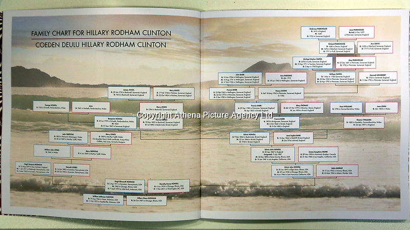 Pictured: The family chart/tree for Hillary Clinton, produced for a commemorative book by Swansea University Bay Campus. Saturday 14 October 2017<br /> Re: Hillary Clinton, the former US secretary of state and 2016 American presidential candidate will be presented with an honorary doctorate during a ceremony at Swansea University's Bay Campus in Wales, UK, to recognise her commitment to promoting the rights of families and children around the world.<br /> Mrs Clinton's great grandparents were from south Wales.