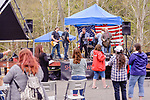 Beacon Falls, CT. 06 May 2018-050618BS226 - Folks attending The Duck Race and Riverfest listen to a local band playing some country music at Volunteer Park along the Naugatuck River on Sunday afternoon. Bill Shettle Republican-American