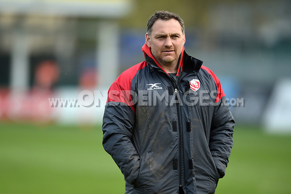 Gloucester Rugby Forwards Coach Trevor Woodman looks on during the pre-match warm-up. Premiership Rugby Shield match, between Bath United and Gloucester United on April 8, 2019 at the Recreation Ground in Bath, England. Photo by: Patrick Khachfe / Onside Images