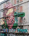 Lisbon, Portugal. 18.04.2016. Street art on Lisbon's derelict buildings. Photograph © Jane Hobson.