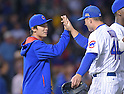 Tsuyoshi Wada, Anthony Rizzo (Cubs),<br /> JULY 28, 2014 - MLB : Chicago Cubs starting pitcher Tsuyoshi Wada (L) is congratulated by teammate Anthony Rizzo (44) after winning the Major League Baseball game against the Colorado Rockies at Wrigley Field in Chicago, USA. The Cubs defeated the Rockies. Tsuyoshi Wada's first Major League win.<br /> (Photo by AFLO)