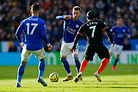 1st February 2020; King Power Stadium, Leicester, Midlands, England; English Premier League Football, Leicester City versus Chelsea; James Maddison of Leicester City on the ball