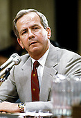 Robert C. McFarlane, former National Security Advisor to United States President Ronald Reagan, testifies before the joint US Senate and US House committee investigating the Iran-Contra Affair on Capitol Hill in Washington, DC on July 14, 1987.<br /> Credit: Ron Sachs / CNP