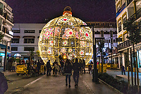Christmas Lights, San Pedro de Alcantara, Malaga Province, Spain, November, 2018, 201811300056<br /><br />Copyright Image from Victor Patterson, 54 Dorchester Park, <br />Belfast, UK, BT9 6RJ<br /><br />t1: +44 28 9066 1296 (from Rep of Ireland 048 9066 1296)<br />t2: +44 28 9002 2446 (from Rep of Ireland 048 9002 2446)<br />m: +44 7802 353836<br /><br />victorpattersonbelfast@gmail.com<br /><br />Please see my Terms and Conditions of Use at victorpatterson.com. It is IMPORTANT that you familiarise yourself with them.<br /><br />Images used on the Internet incur an additional cost and must be visibly watermarked i.e. &copy; Victor Patterson within the body of the image and copyright metadata must not be deleted. Images used on the Internet have a size restriction of 4kbs and are chargeable at rates available at victorpatterson.com.<br /><br />This image is available only for the use of the download recipient i.e. television station, newspaper, magazine, book publisher, etc, and must not be passed on to any third party. It is also downloaded on condition that each and every usage is notified within 7 days to victorpattersonbelfast@gmail.com<br /><br />The right of Victor Patterson (or the named photographer) to be identified as the author is asserted in accordance with The Copyright Designs And Patents Act (1988). All moral rights are asserted.