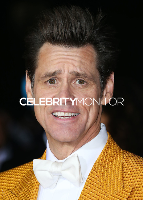 WESTWOOD, LOS ANGELES, CA, USA - NOVEMBER 03: Jim Carrey arrives at the Los Angeles Premiere Of Universal Pictures and Red Granite Pictures' 'Dumb and Dumber To' held at the Regency Village Theatre on November 3, 2014 in Westwood, Los Angeles, California, United States. (Photo by Xavier Collin/Celebrity Monitor)