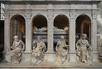 Funerary monument of Louis XII, 1462-1515, and Anne of Brittany, 1477-1514, made 1516-31 in Carrara marble by Giovani di Giusto Betti, 1479-1519, in the Basilique Saint-Denis, Paris, France. The mausoleum resembles an antique temple and is surrounded by the 12 apostles and the 4 cardinal virtues, Prudence, Might, Justice and Temperance and the plinth is decorated with bas-reliefs of the Italian wars. The basilica is a large medieval 12th century Gothic abbey church and burial site of French kings from 10th - 18th centuries. Picture by Manuel Cohen