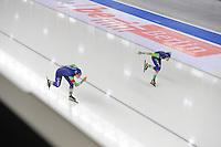 SCHAATSEN: BERLIJN: Sportforum Berlin, 07-12-2014, ISU World Cup, Ireen Wüst (NED), Marrit Leenstra (NED), ©foto Martin de Jong