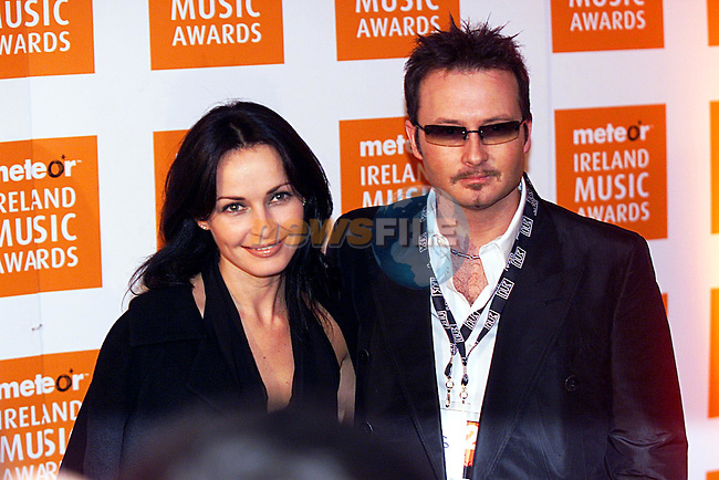Sharon and Jim Corr,at The Meteor Ireland Music  Awards at Dublin's Point Theatre...Pic Newsfile