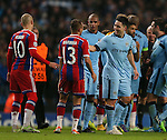 All smiles for Samir Nasri of Manchester City as he enjoys the win over Bayern Munich - UEFA Champions League group E - Manchester City vs Bayern Munich - Etihad Stadium - Manchester - England - 25rd November 2014  - Picture Simon Bellis/Sportimage