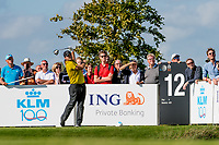 Patrick Reed (USA) in action on the 12th hole during the 1st round at the KLM Open, The International, Amsterdam, Badhoevedorp, Netherlands. 12/09/19.<br /> Picture Stefano Di Maria / Golffile.ie<br /> <br /> All photo usage must carry mandatory copyright credit (© Golffile | Stefano Di Maria)