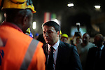 Italian Prime Minister Matteo Renzi visits the Brennero Base Tunnel constructions in Fortezza, Italy on July 5, 2014.