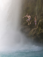 8/2/09 Havasupai-- Clark Vierheller, 20, of Litchfield Park, (CQ) jumps from Havasu Falls, one of the the Havasupai waterfalls. (Pat Shannahan/ The Arizona Republic)