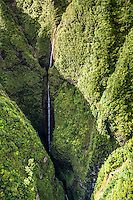 An aerial view of the waterfall at Sacred Falls State Park, O'ahu.