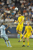 Tommy Heinemann Columbus Crew forward wins the header... Sporting Kansas City defeated Columbus Crew 2-1 at LIVESTRONG Sporting Park, Kansas City, Kansas.