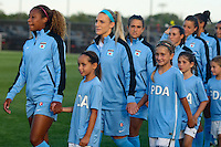 Piscataway, NJ - Saturday Aug. 27, 2016: Casey Short, Julie Johnston, Stephanie McCaffrey, Vanessa DiBernadino, Sofia Huerta prior to a regular season National Women's Soccer League (NWSL) match between Sky Blue FC and the Chicago Red Stars at Yurcak Field.