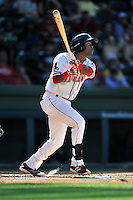 Center fielder Luis Alexander Basabe (19) of the Greenville Drive bats in a game against the Columbia Fireflies on Sunday, May 8, 2016, at Fluor Field at the West End in Greenville, South Carolina. Greenville won, 5-4. (Tom Priddy/Four Seam Images)