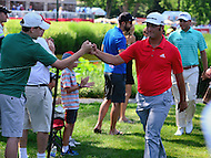 Bethesda, MD - June 26, 2016: Jon Rahm greets fans after he finished play on the 11th hole of the Final Round of play at the Quicken Loans National Tournament at the Congressional Country Club in Bethesda, MD, June 26, 2016.  (Photo by Don Baxter/Media Images International)