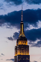 Empire State Building illuminated at twilight, New York, New York USA.