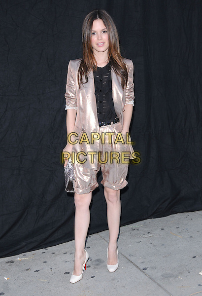 RACHEL BILSON.The 1 Year Anniversary of 3.1 Phillip Lim L.A. Store in West Hollywood, California, USA..July 15th, 2009.full length silver gold metallic shiny jacket shorts cropped trousers top hand in pocket clutch bag white shoes black.CAP/DVS.©Debbie VanStory/Capital Pictures.