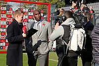 Southend United Manager, Sol Campbell gets ready to be interviewed by BT Sport ahead of kick-off during Dover Athletic vs Southend United, Emirates FA Cup Football at the Crabble Athletic Ground on 10th November 2019