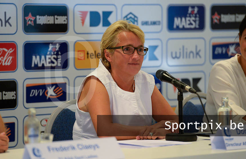 20150821 - GENT, BELGIUM: Gent's  Dominique Reyns , pictured during a press conference about the start of the new Super League season of the women's team KAA Gent Ladies , Friday 21 August 2015 , in Gent. PHOTO DAVID CATRY