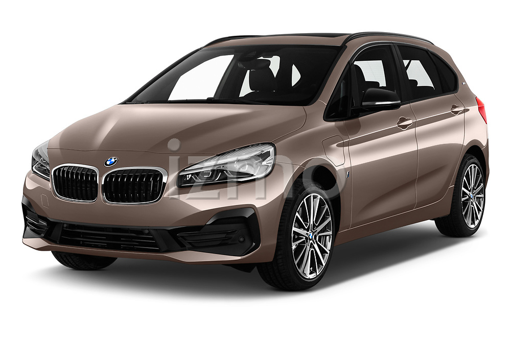 2018 BMW 2 Series 225xe iperformance 5 Door Mini Van angular front stock photos of front three quarter view