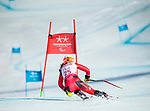 PyeongChang 13/3/2018 - Mollie Jepsen skis in the super-G portion of the super combined at the Jeongseon Alpine Centre during the 2018 Winter Paralympic Games in Pyeongchang, Korea. Photo: Dave Holland/Canadian Paralympic Committee